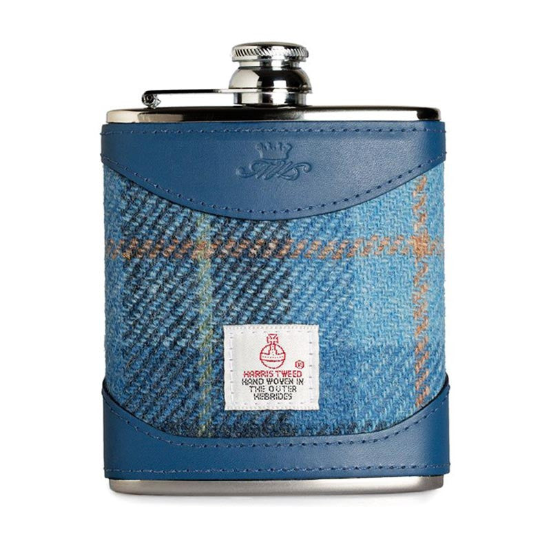 6oz Hip Flask Harris Tweed and Blue Leather