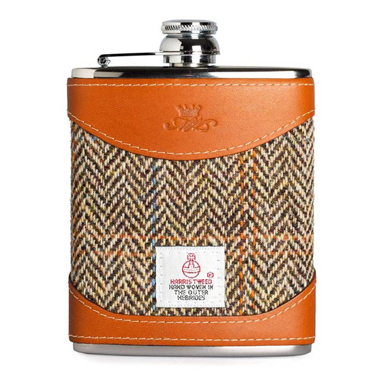 6oz Hip Flask Harris Tweed and Tan Leather