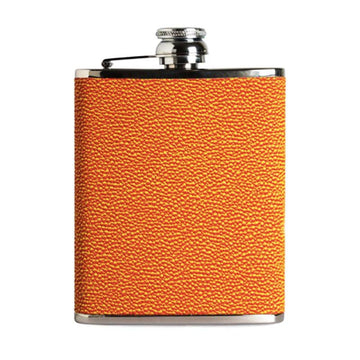6oz Hip Flask Orange Yellow Hoxton Leather
