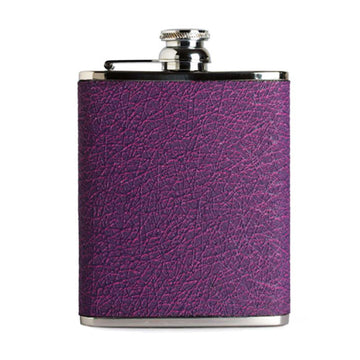 6oz Hip Flask Purple Pink Hoxton Leather