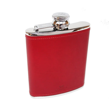 6oz Hip Flask Red Leather