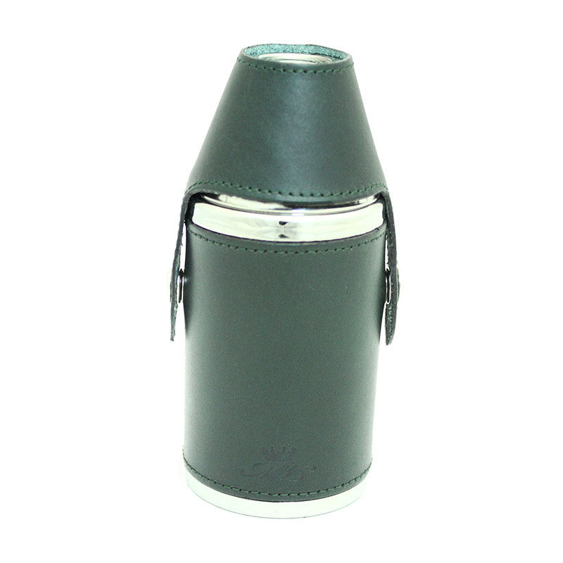 6oz Hunter Hip Flask Green Leather