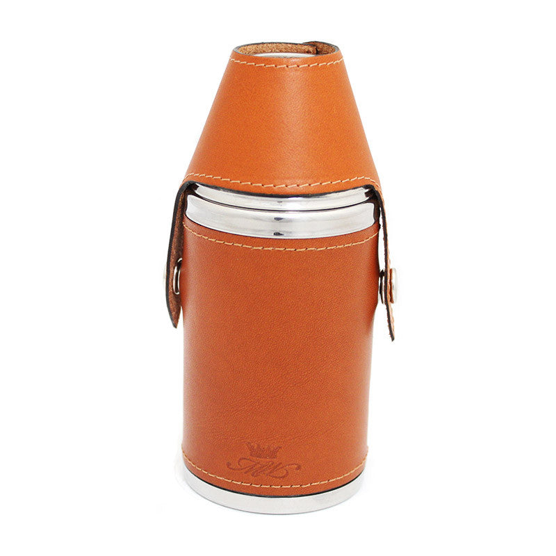 6oz Hunter Hip Flask Tan Leather