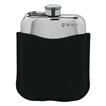 6oz Pewter Hip Flask With Black Leather Pouch