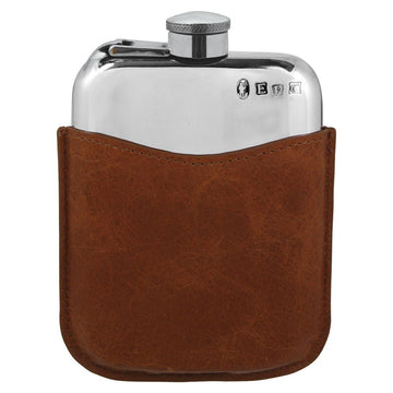 6oz Pewter Hip Flask With Brown Leather Pouch