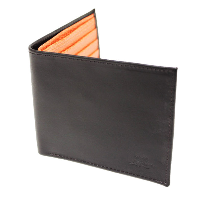 Black With Orange Leather Billfold Wallet