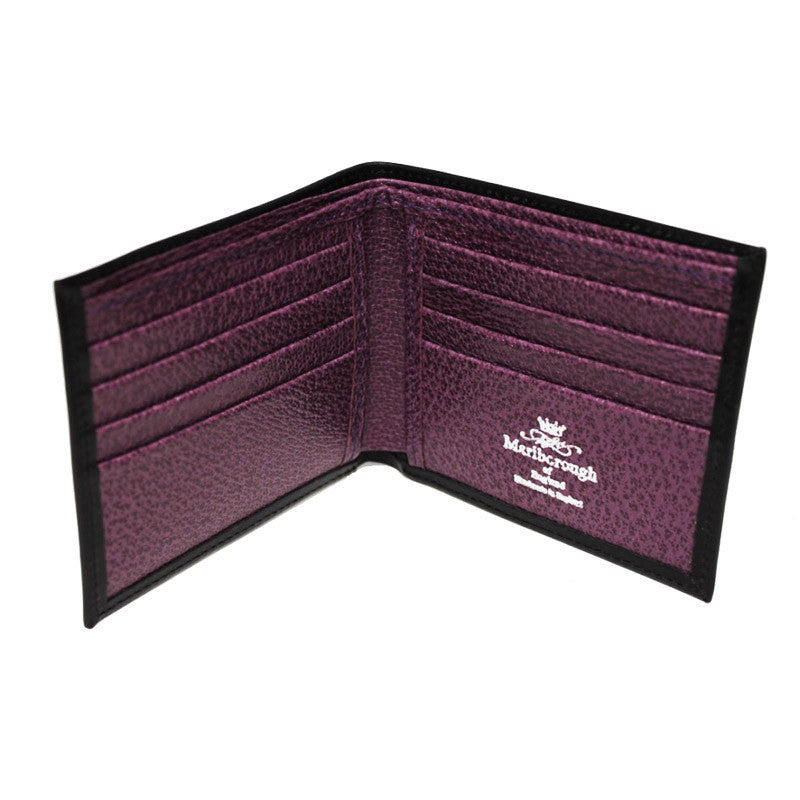 Black With Purple Leather Billfold Wallet