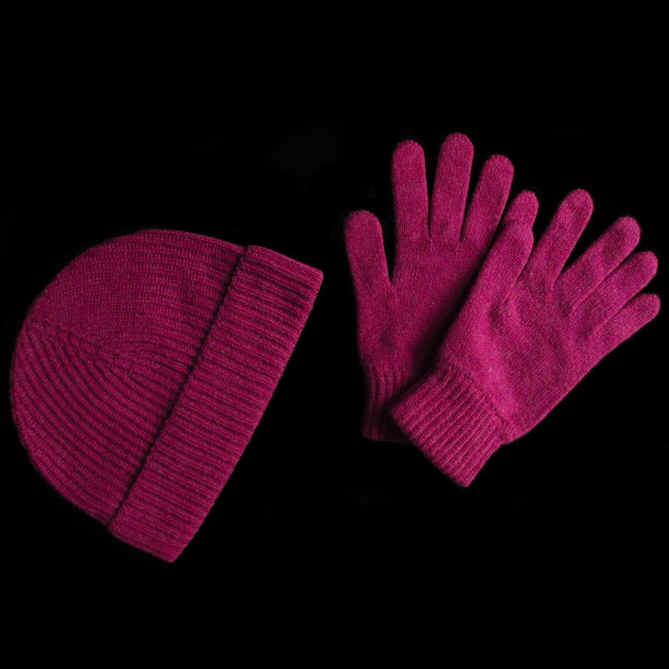Burgundy Cashmere Hat and Gloves Gift Set