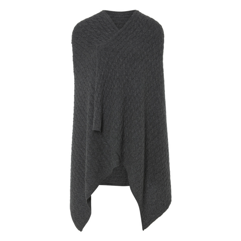 Charcoal Grey Cable Cashmere Wrap