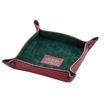 Burgundy Leather Crocodile Print Tidy Tray