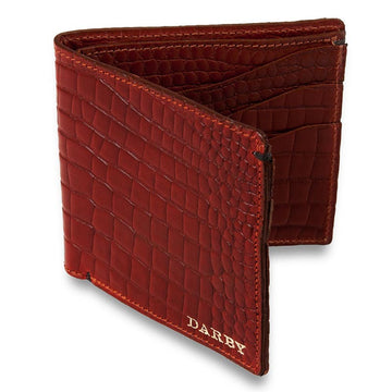 Burgundy Leather Crocodile Print Billfold Wallet