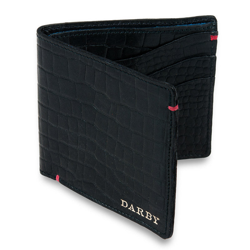 Black Leather Crocodile Print Billfold Wallet