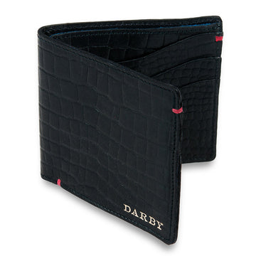 Black Leather Crocodile Print Wallet