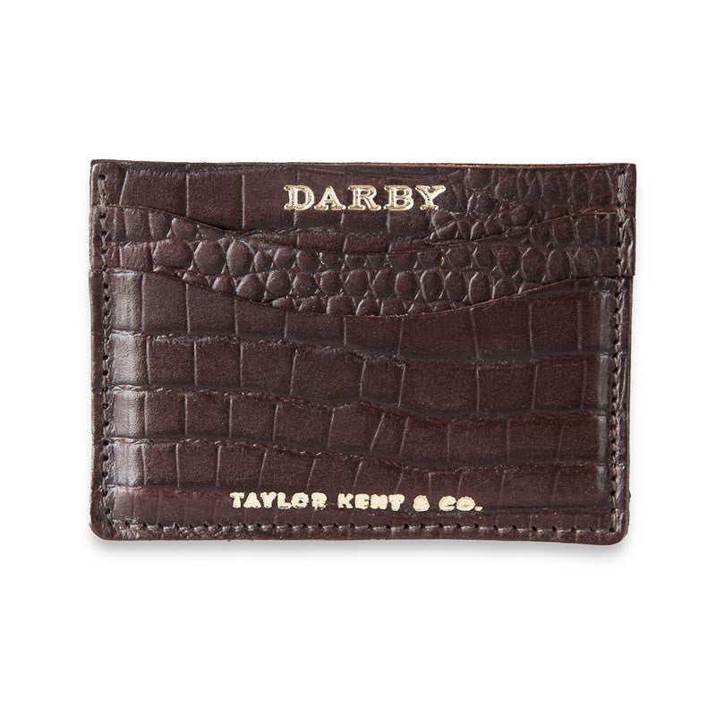 Brown Leather Crocodile Print Leaf Wallet