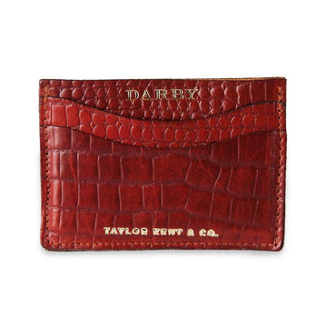 Tan Leather Crocodile Print Leaf Wallet