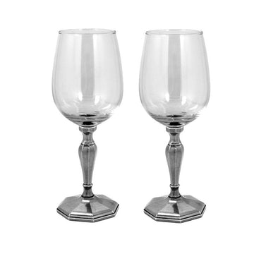 Double Classic Pewter Wine Glass Gift Set