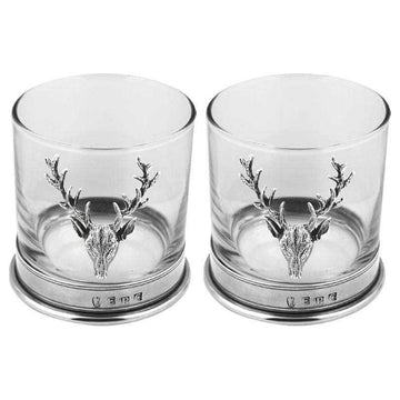 Double Stag Pewter Whiskey Glass Gift Set