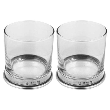 Double Classic Pewter Whiskey Glass Gift Set