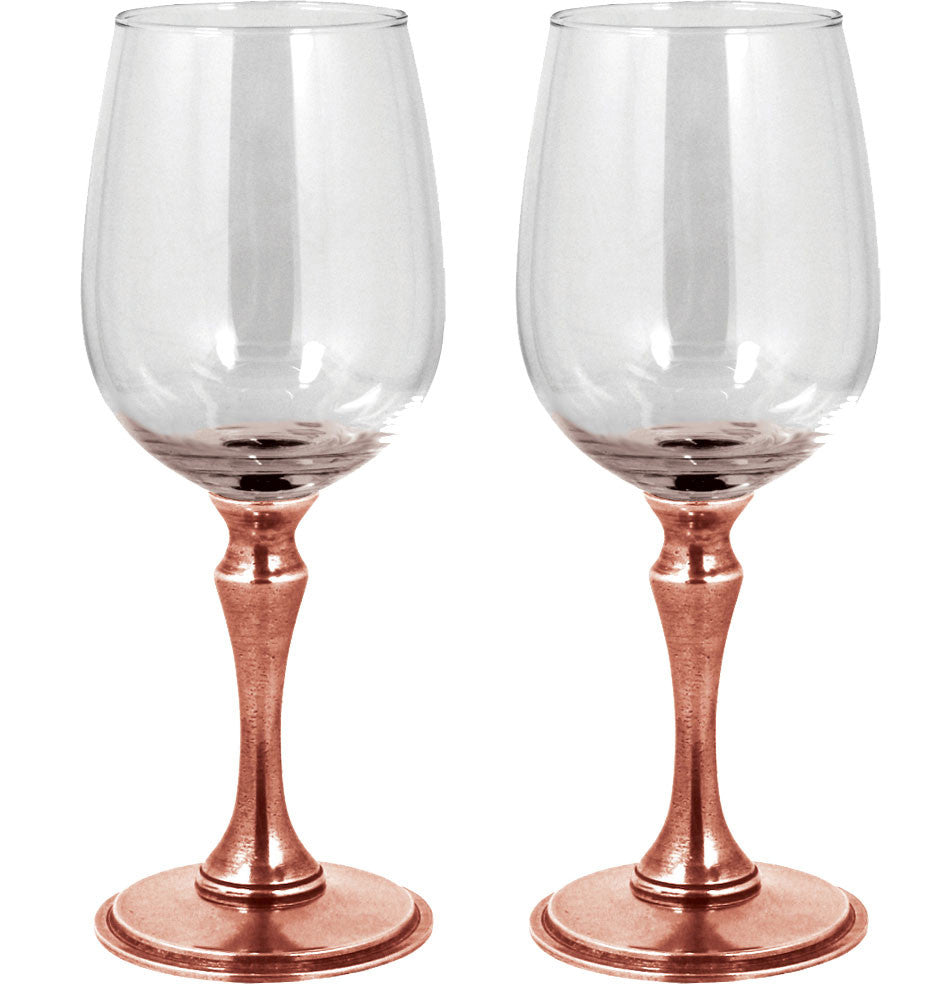 Double Rose Pewter Wine Glass Gift Set