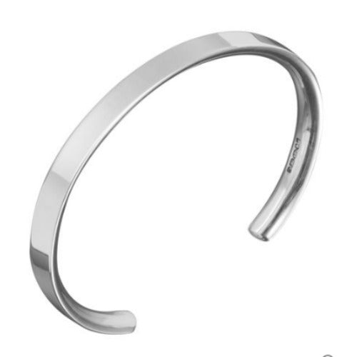 Solid silver open bangle