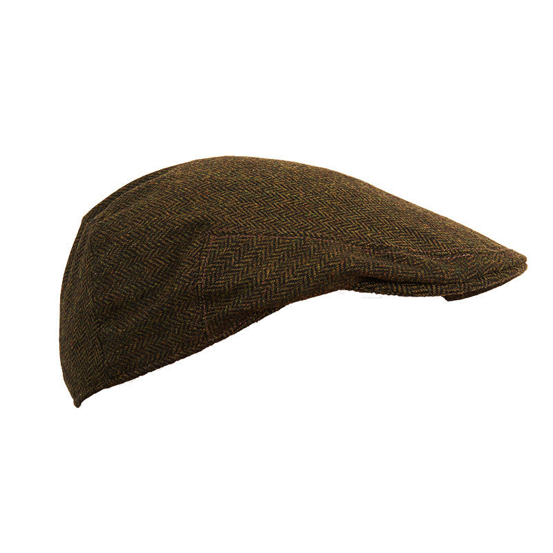 Herringbone Green Tweed Flat Cap