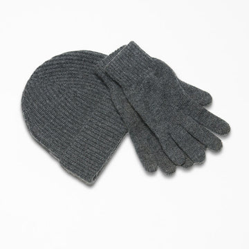 Grey Cashmere Hat and Gloves Gift Set