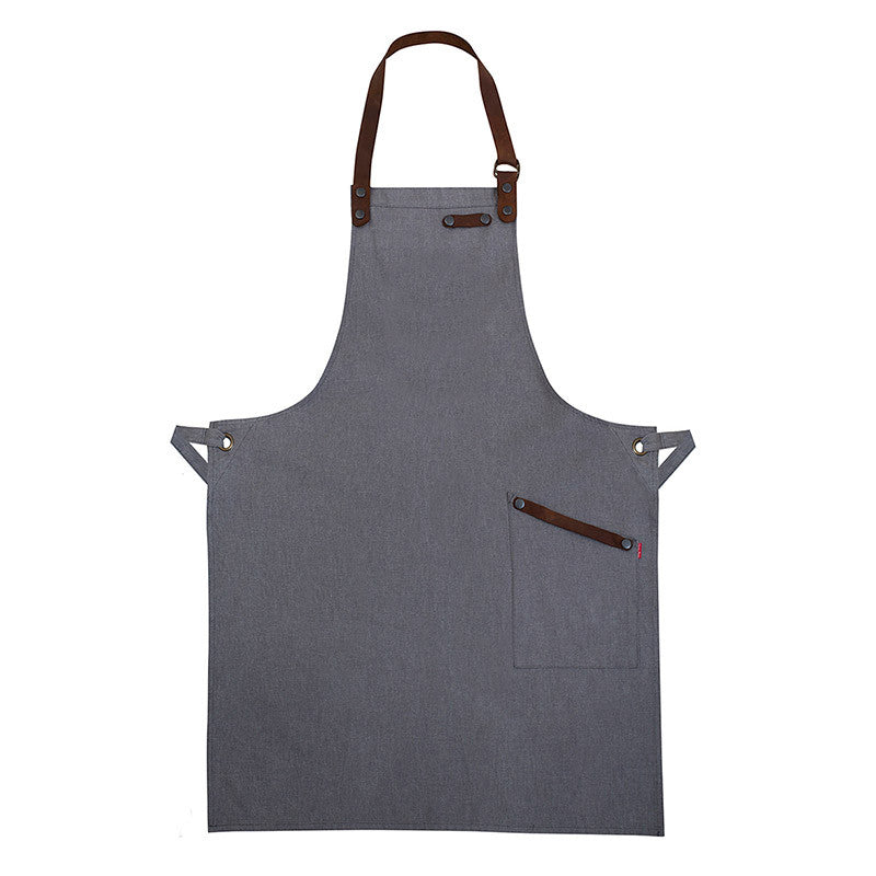 Grey Denim And Leather Mens Apron