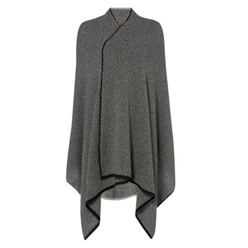 Charcoal Grey Herringbone Cashmere Wrap