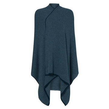 Teal and Blue Herringbone Cashmere Wrap