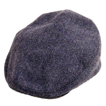Herringbone Blue Tweed Flat Cap