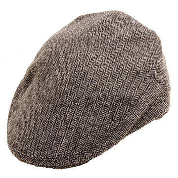 Herringbone Grey Tweed Flat Cap