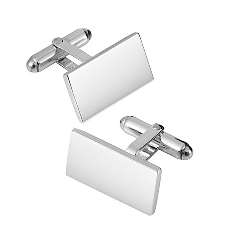 Hinged Oblong Sterling Silver Cufflinks