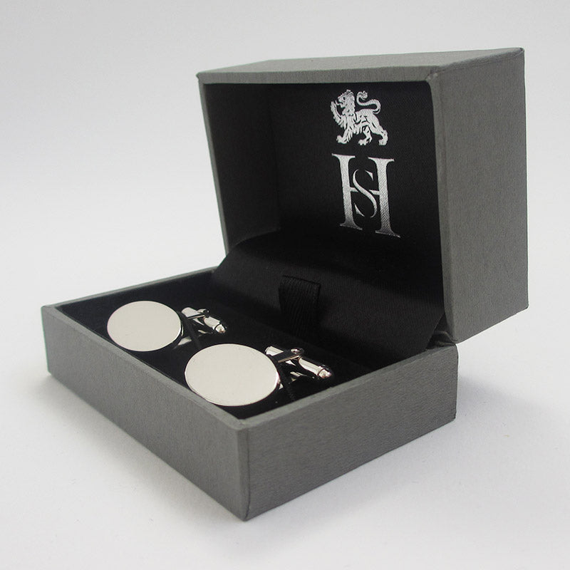 Hinged Oval Sterling Silver Cufflinks
