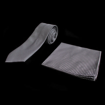 Houndstooth Silk Tie and Pocket Square Gift Set