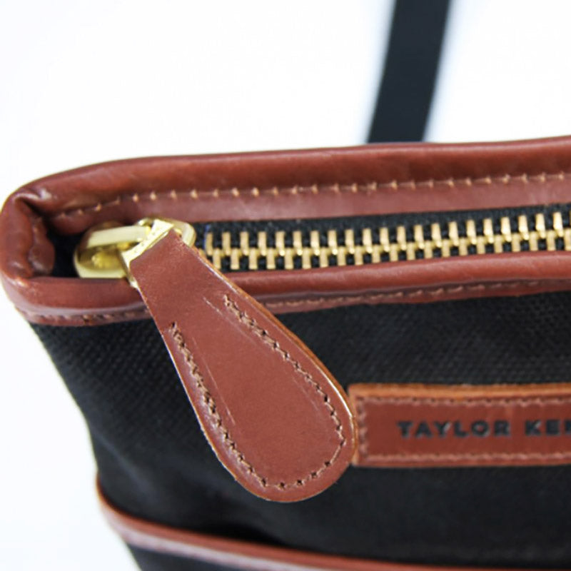 Leather and Black Canvas Messenger Bag