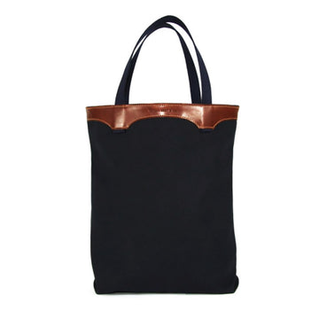 Leather and Black Canvas Tote Bag
