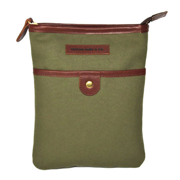 Leather and Green Canvas Messenger Bag