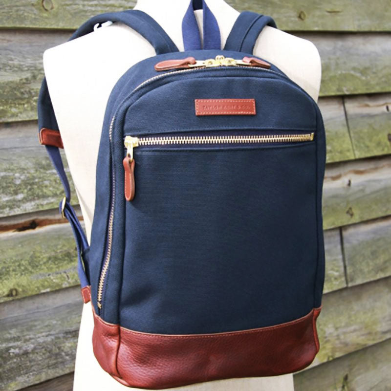 Leather and Navy Canvas Backpack
