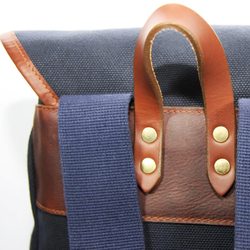 Leather and Navy Canvas Rucksack