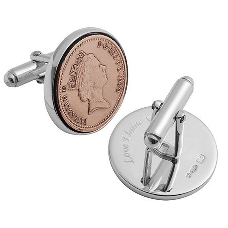 Lucky Penny Sterling Silver Cufflinks