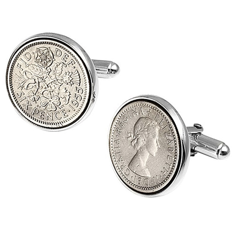 Lucky Sixpence Sterling Silver Cufflinks