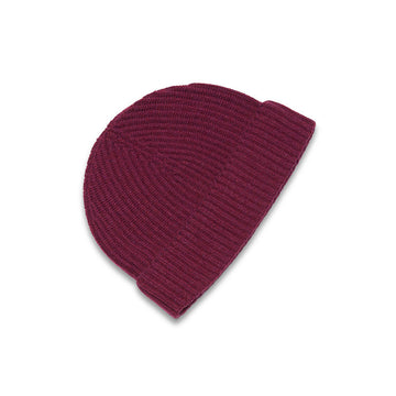 New Lanark Burgundy Cashmere Mens Beanie Hat