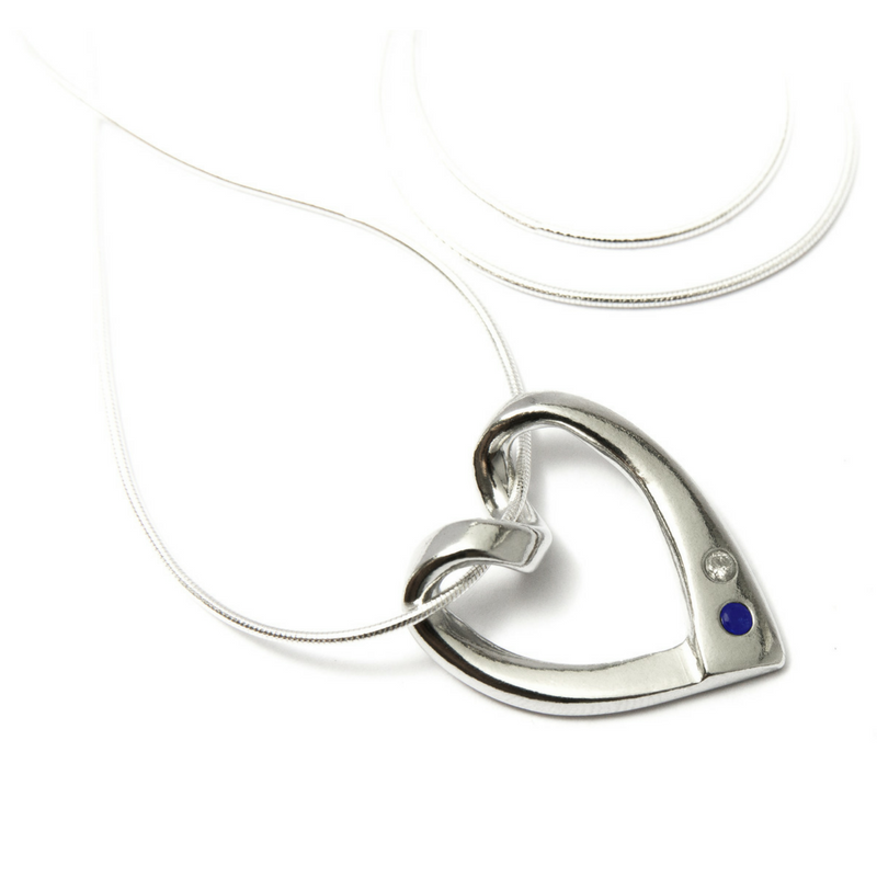 Heart pendant with diamond and sapphire darbymade heart pendant with diamond and sapphire aloadofball Gallery