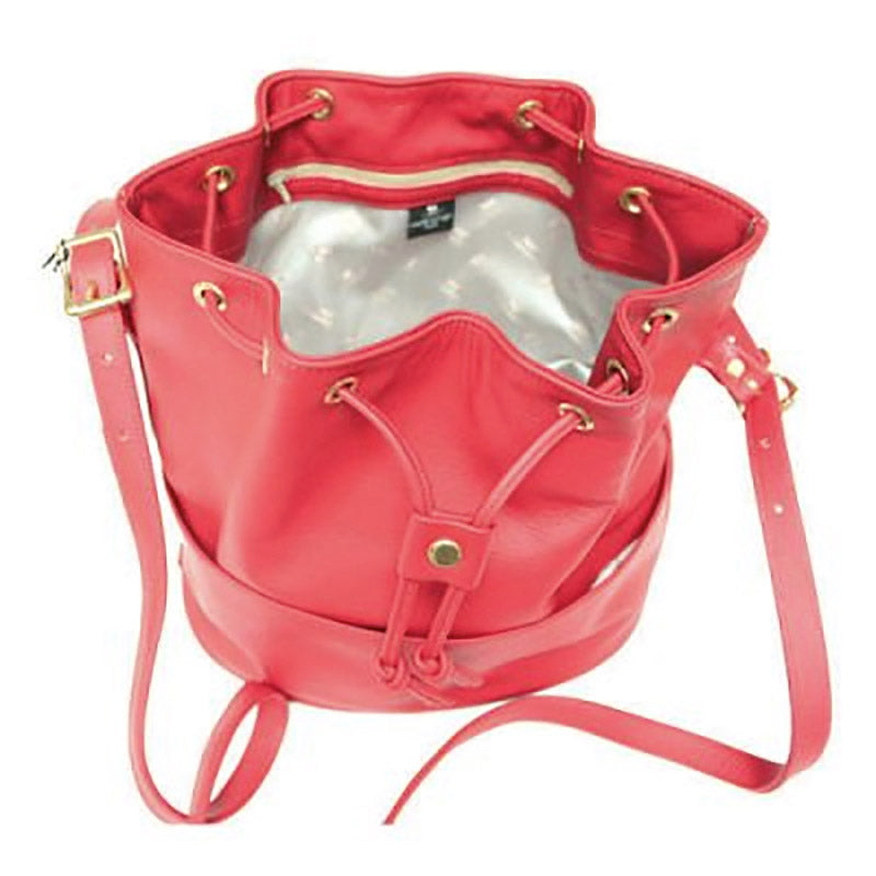 Red Leather Bucket Bag