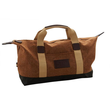 Brown Herringbone Wool And Waxed Cotton Travel Bag
