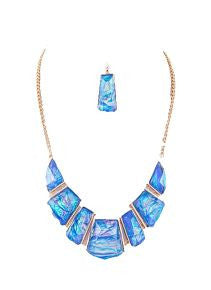 Turquoise Resin Stone Necklace and Earring Set