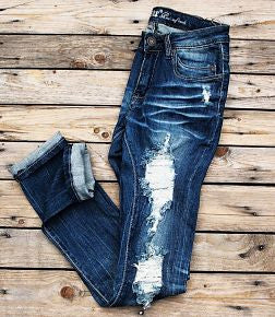 Machine Distressed Skinny Jeans