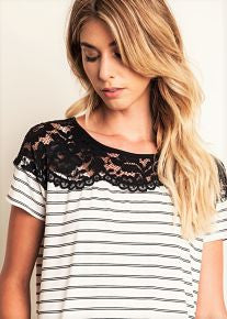 Stripes and Lace Tee
