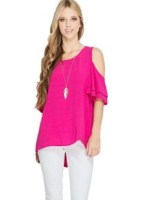 Half-Sleeve Cold Shoulder Top