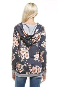 Vintage Floral Hooded Sweatshirt